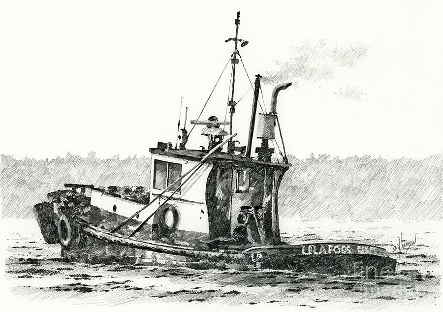 Tugboat Lela Foss Drawing
