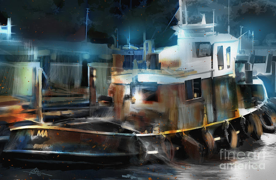 Tugboat Port Of Goderich On Painting