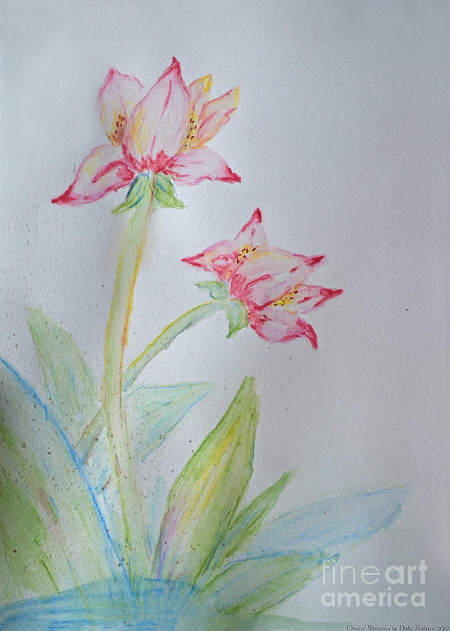 Watercolor Painting - Tulip Duo I  by Debbie Portwood