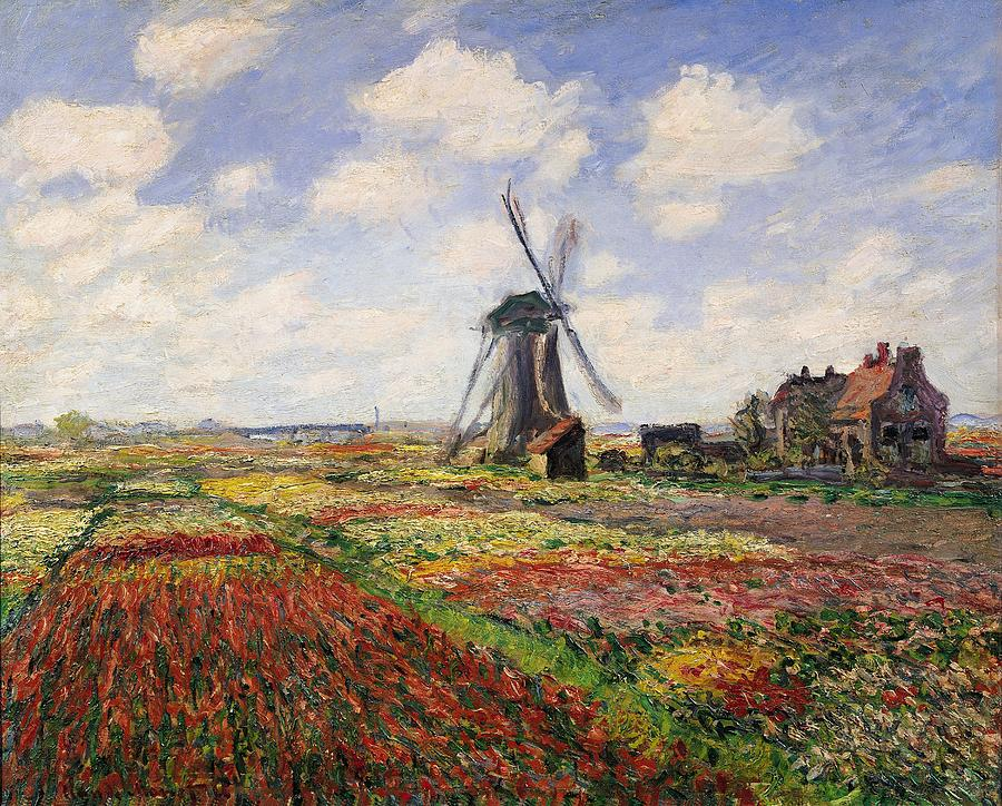 Tulip Fields With The Rijnsburg Windmill Painting  - Tulip Fields With The Rijnsburg Windmill Fine Art Print