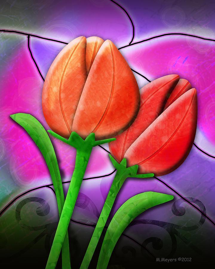 Tulips Digital Art - Tulip Glass by Melisa Meyers