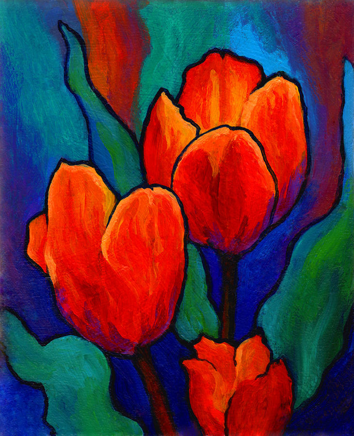 Tulip trio by marion rose for Painting large flowers in acrylic