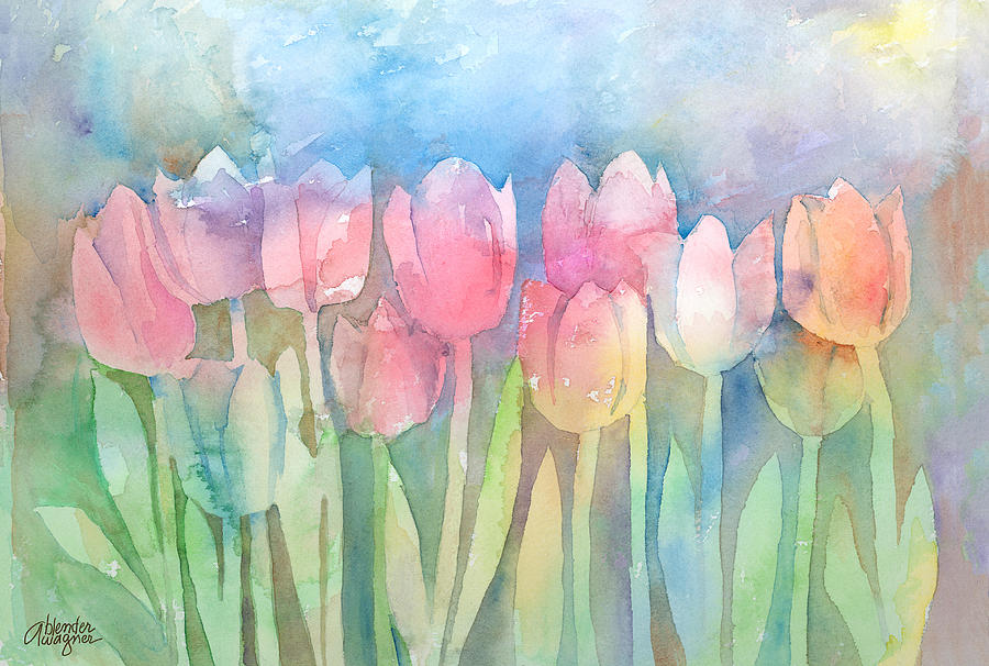 Tulips In A Row Painting  - Tulips In A Row Fine Art Print