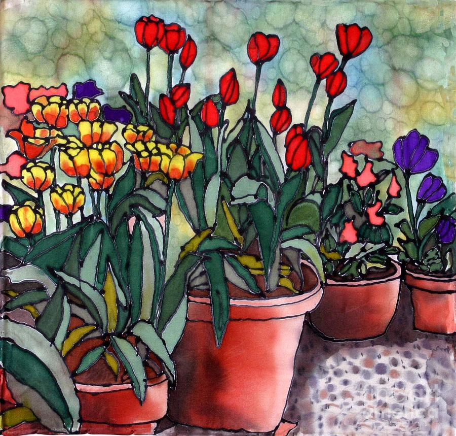 Tulips In Clay Pots Painting