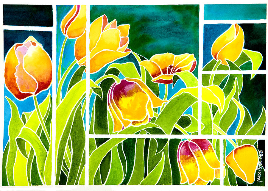 Tulips In Stained Glass Painting  - Tulips In Stained Glass Fine Art Print