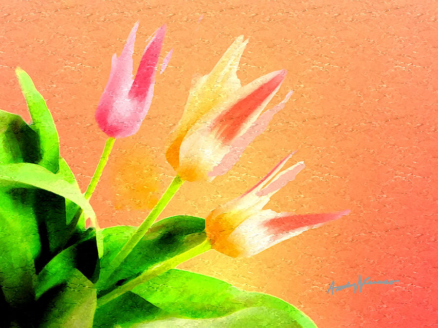 Tulips Three Painting  - Tulips Three Fine Art Print