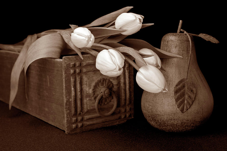 Tulips With Pear I Photograph  - Tulips With Pear I Fine Art Print