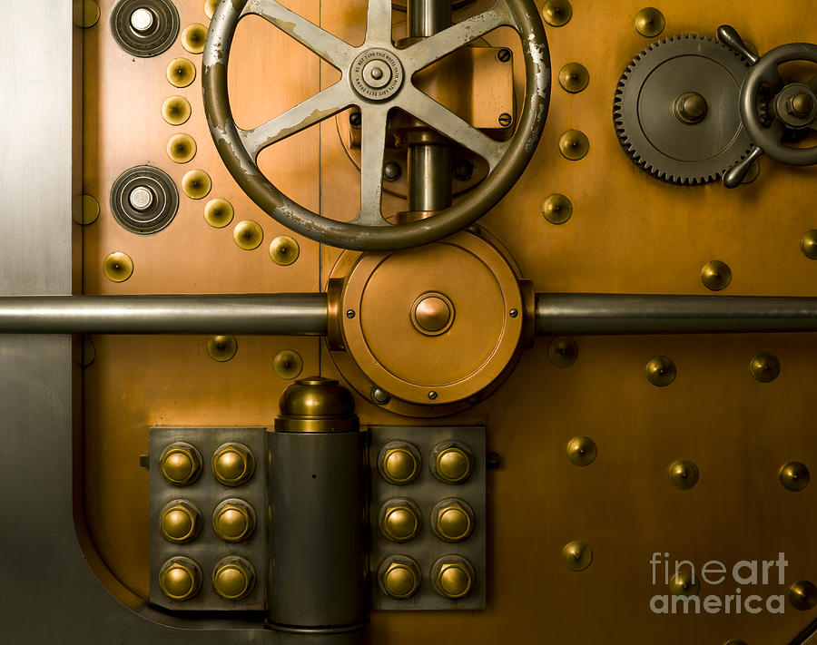 Architectural Photograph - Tumbler Bank Vault Door by Adam Crowley
