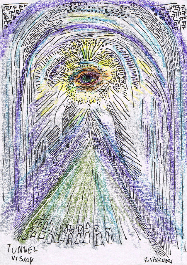 Tunnel Vision A Pun  Aceo Drawing  - Tunnel Vision A Pun  Aceo Fine Art Print