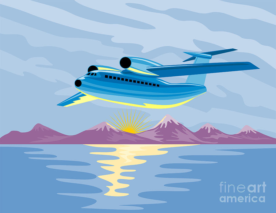 Turbo Jet Plane Retro Digital Art  - Turbo Jet Plane Retro Fine Art Print
