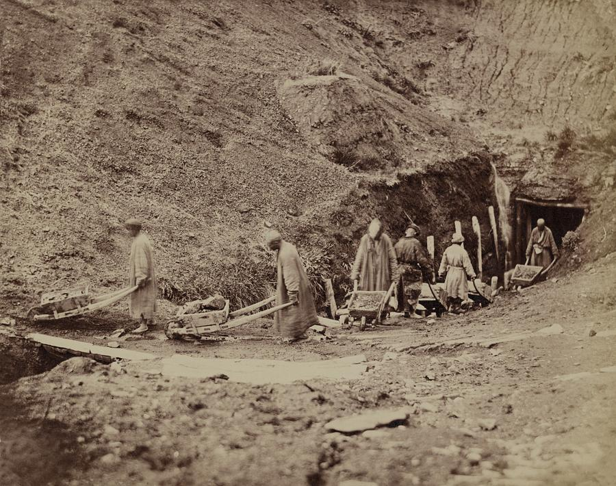 Turkestani Workers Hauling Coal From An Photograph