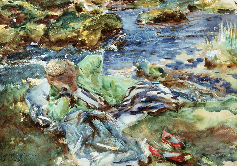 Turkish Woman By A Stream Painting
