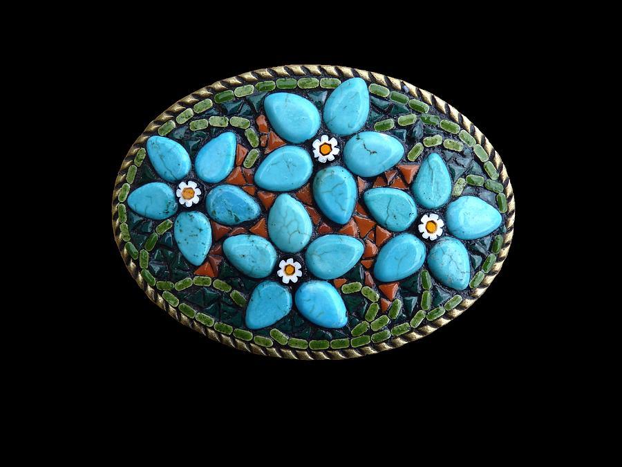 Turquoise Bouquet Mosaic Belt Buckle Photograph By