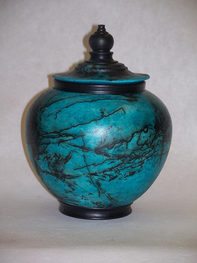 Turquoise Horse Hair Ceramic Art 