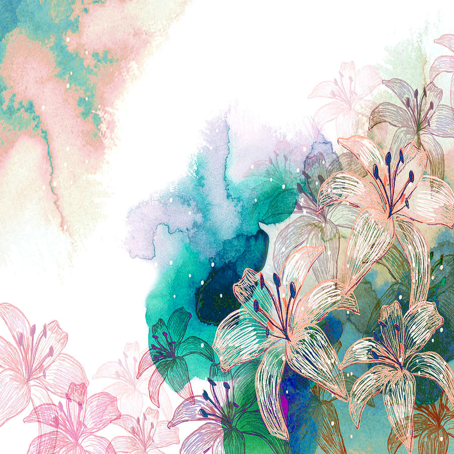 Turquoise Lilies Mixed Media