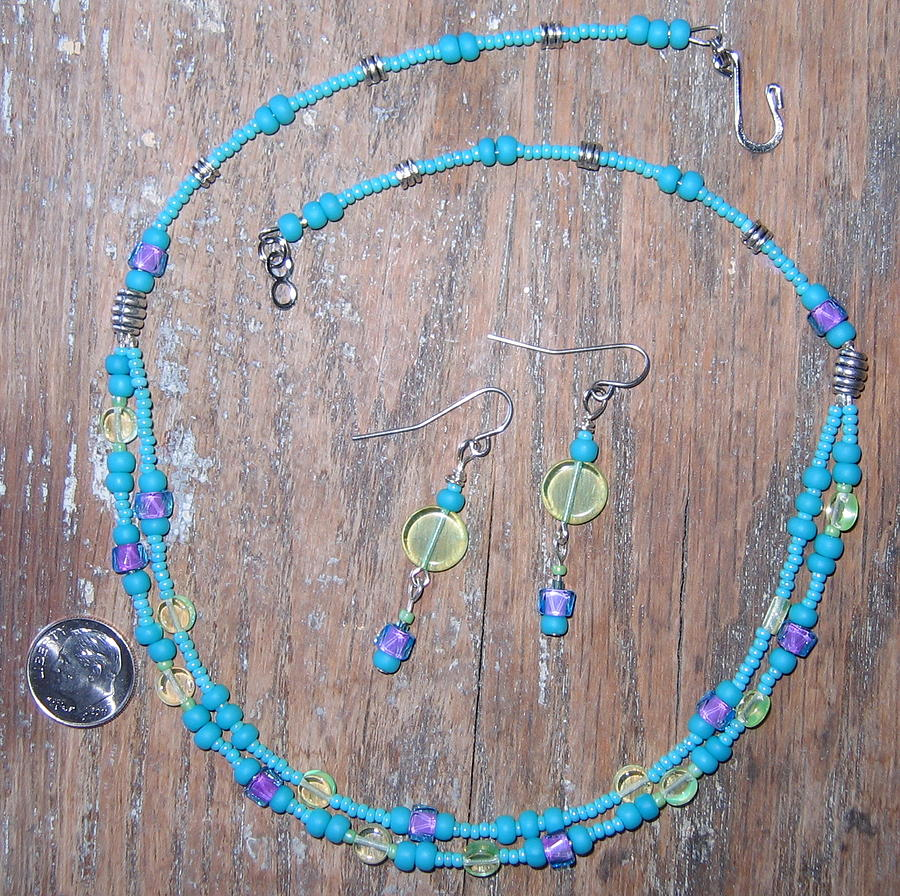 Bead Jewelry - Turquoise Lime Green Purple Choker by Elizabeth Carrozza