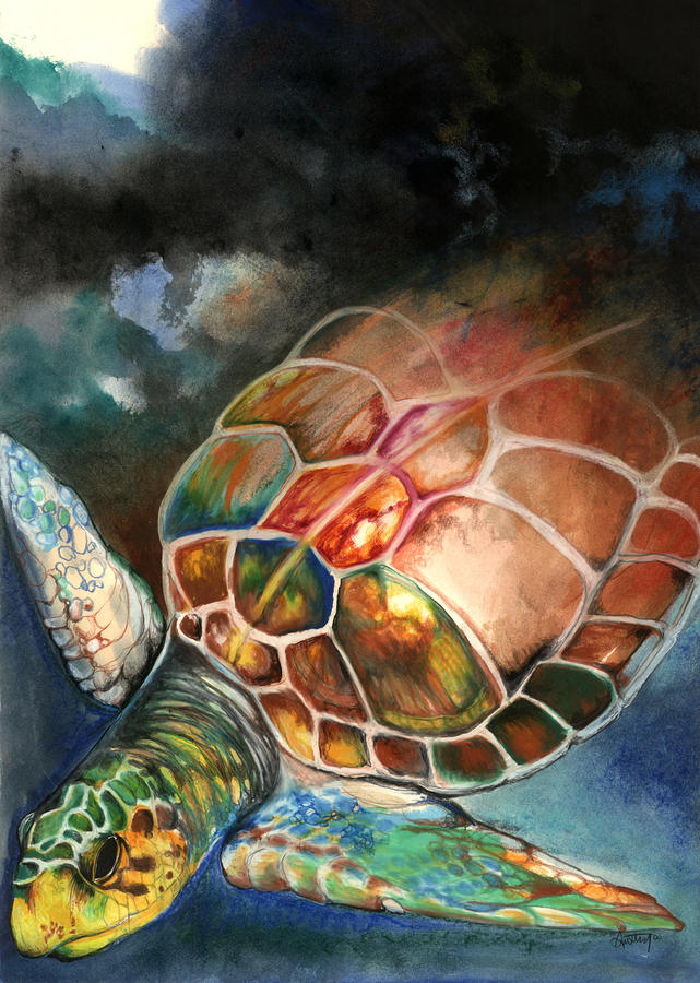 Turtle Mixed Media  - Turtle Fine Art Print