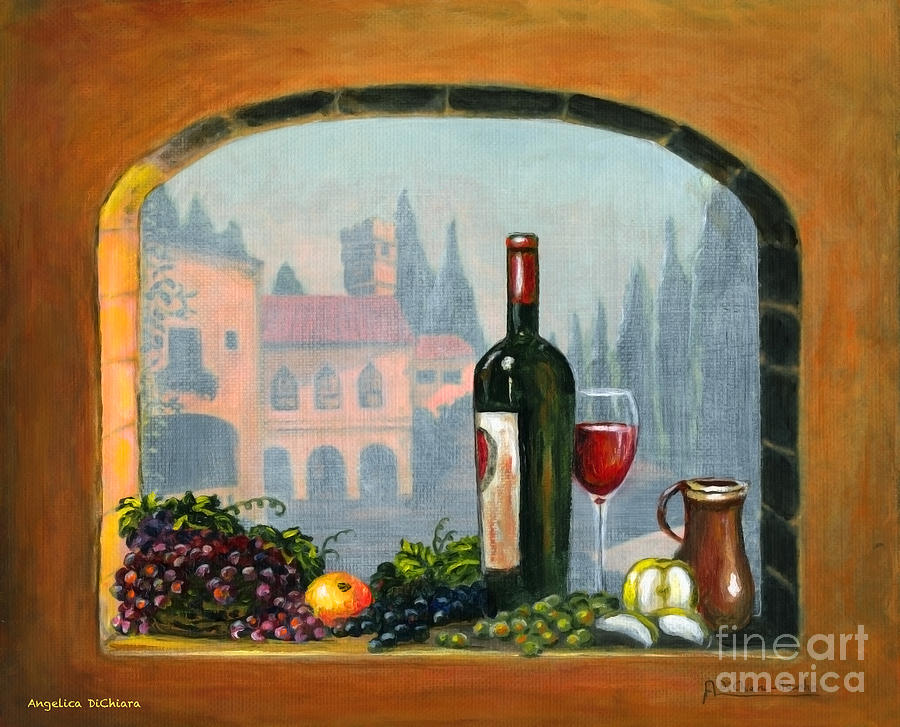 Tuscan Arch Wine Grape Feast Painting  - Tuscan Arch Wine Grape Feast Fine Art Print