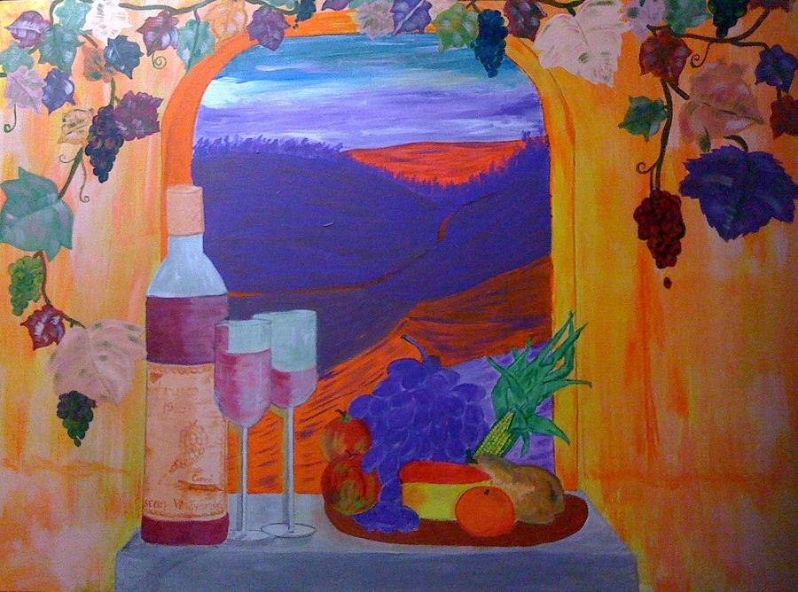 Tuscany Painting - Tuscan Lunch by Judi Goodwin