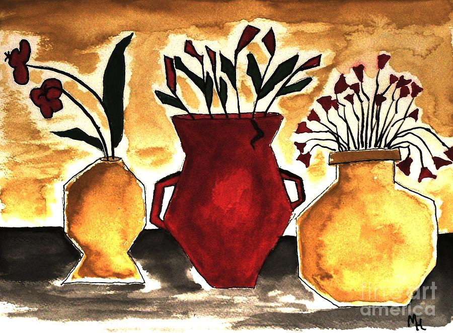 Tuscan Pottery With Flowers Ll Painting