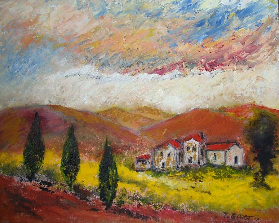 Tuscany Sunset Painting  - Tuscany Sunset Fine Art Print
