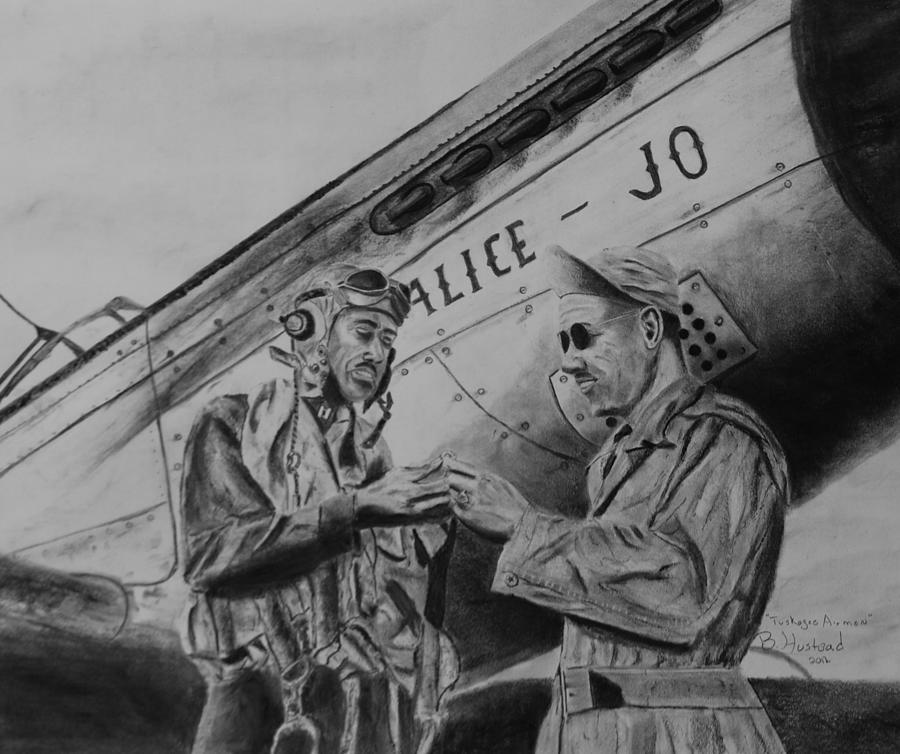 Military Aircraft Drawing - Tuskegee Airmen by Brian Hustead