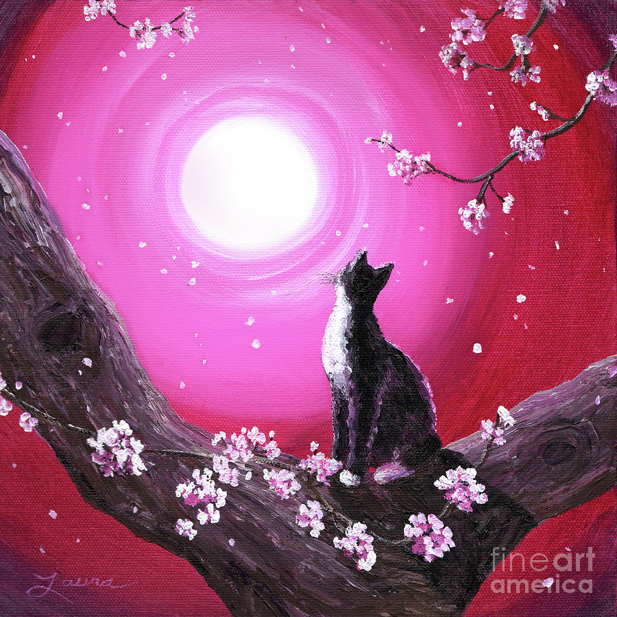 Tuxedo Cat In Cherry Blossoms Painting  - Tuxedo Cat In Cherry Blossoms Fine Art Print