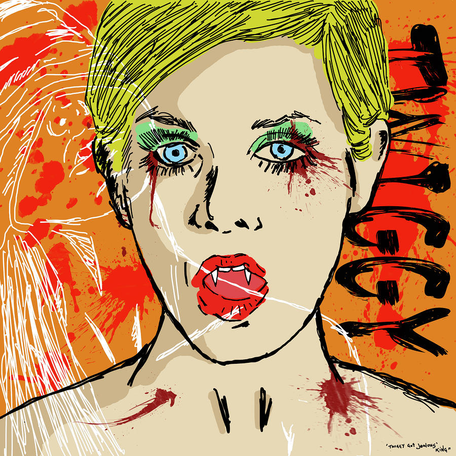 Twiggy Got Jealous Drawing  - Twiggy Got Jealous Fine Art Print