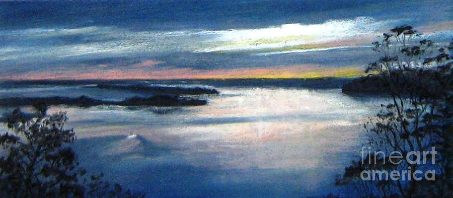 Pastel Painting Painting - Twighlight Waters-dusk Over Lakes Entrance by Nadine Kelly