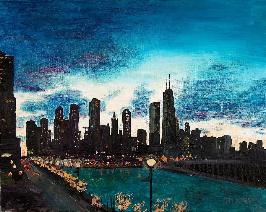Twilight From Navy Pier Painting  - Twilight From Navy Pier Fine Art Print