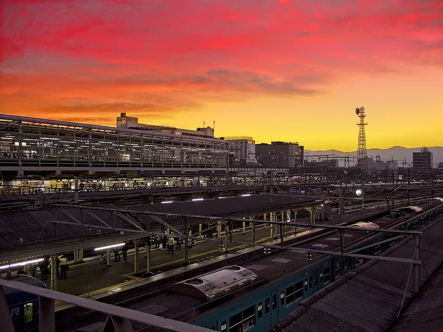 Twilight Over Kyoto Station - Japan Photograph  - Twilight Over Kyoto Station - Japan Fine Art Print
