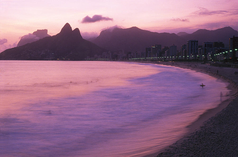 Twilight View Of Ipanema Beach And Two Photograph  - Twilight View Of Ipanema Beach And Two Fine Art Print