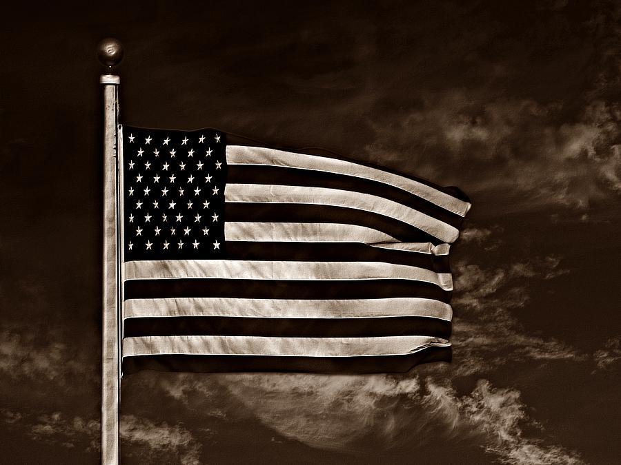 Flag Photograph - Twilights Last Gleaming S by David Dehner