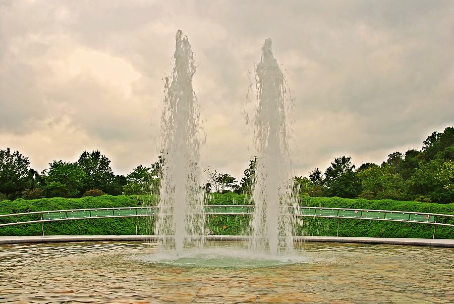 Twin Fountains - Garden Of Reflection Photograph