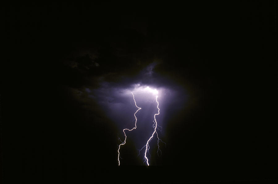 Twin Lightening Forks Slam Into A Salt Photograph