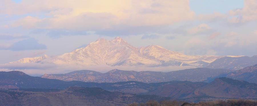 Twin Peaks Meeker And Longs Peak Panorama Color Image Photograph