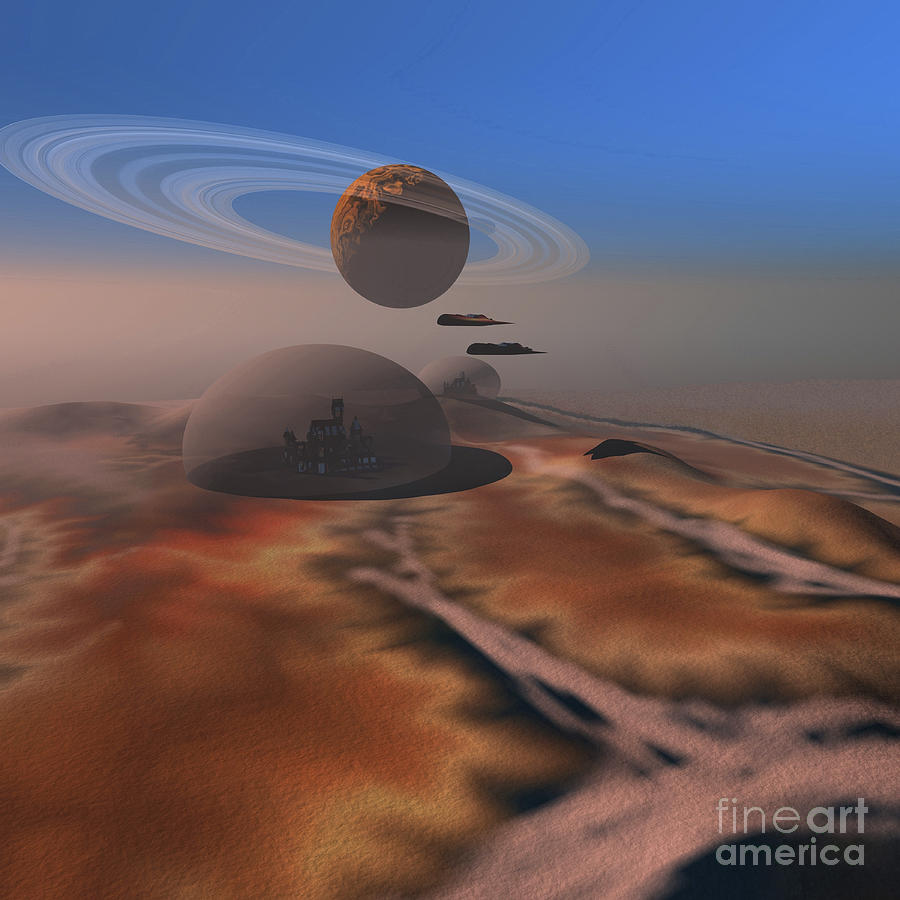 Space Art Digital Art - Two Aircraft Fly Over Domes by Corey Ford