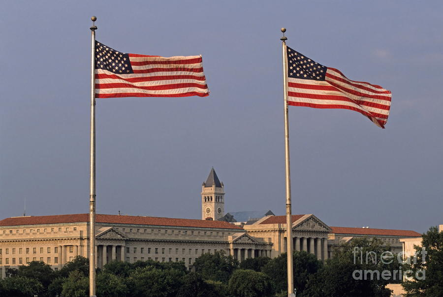 Two American Flags With Old Post Office Building Photograph  - Two American Flags With Old Post Office Building Fine Art Print