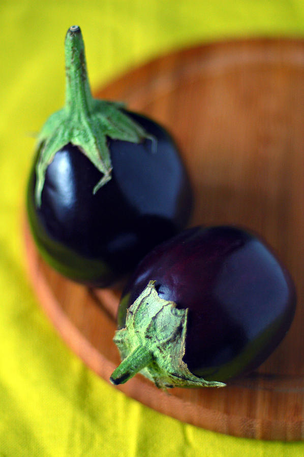 Two Baby Aubergines (eggplants) Photograph