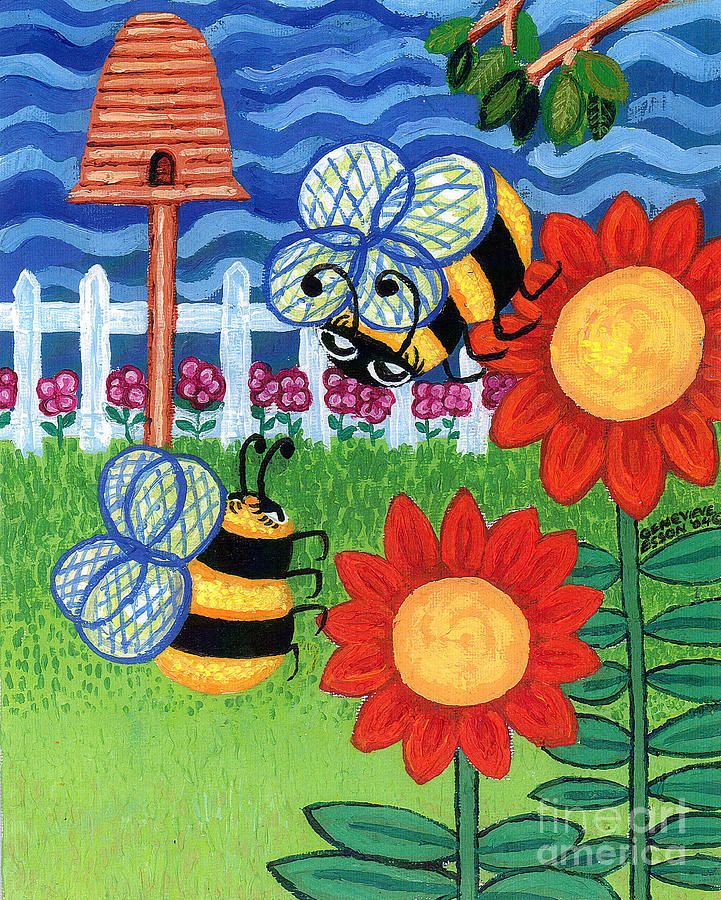 Two Bees With Red Flowers Painting