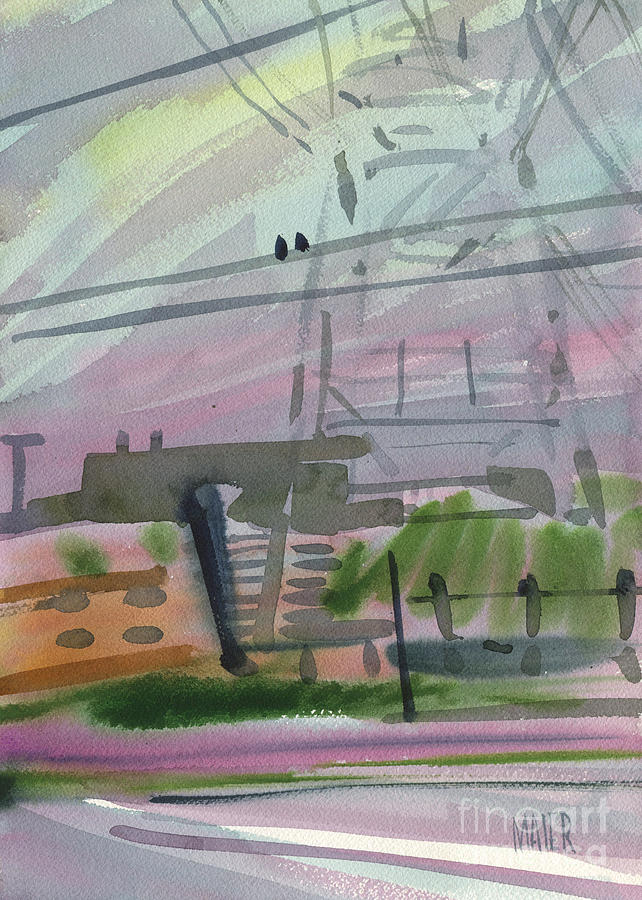 Two Birds On A High Tension Wire Painting