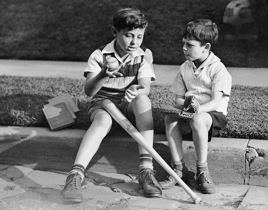 Child Photograph - Two Boys Playing Baseball by George Marks