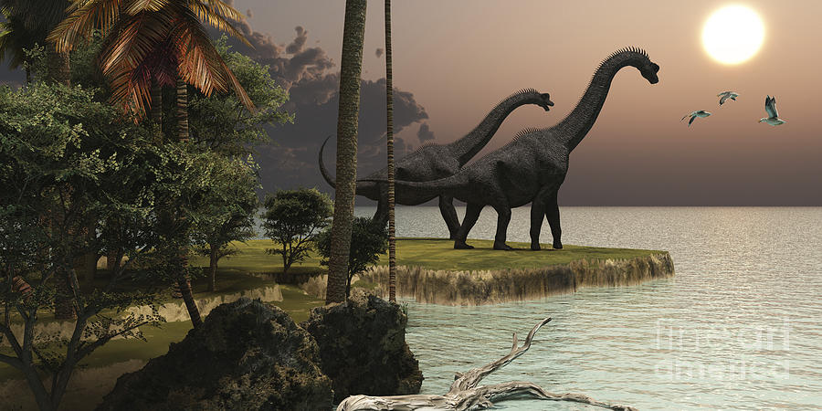 Two Brachiosaurus Dinosaurs Enjoy Digital Art