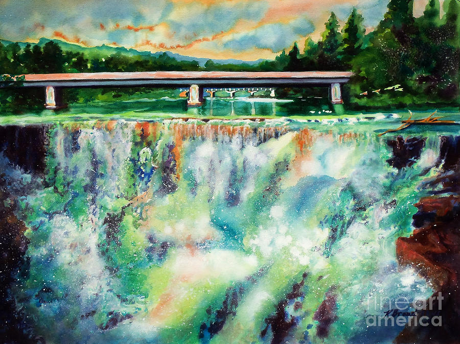Two Bridges And A Falls 2          Painting  - Two Bridges And A Falls 2          Fine Art Print