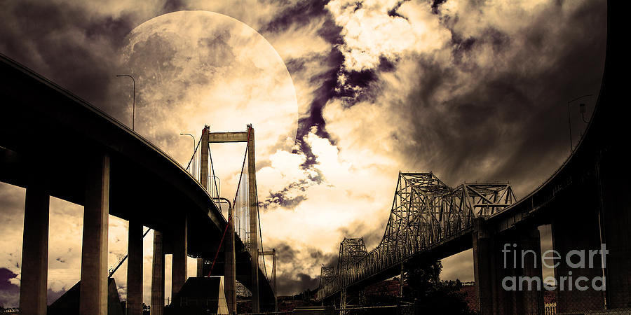 Two Bridges One Moon Photograph  - Two Bridges One Moon Fine Art Print