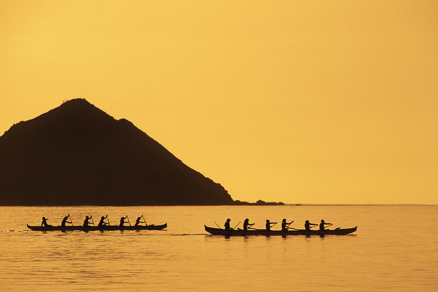 Two Canoes Silhouetted Photograph