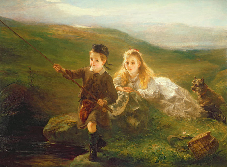 Two Children Fishing In Scotland   Painting  - Two Children Fishing In Scotland   Fine Art Print