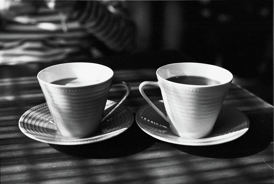 Two Cups Of Coffee In Sunlight Photograph  - Two Cups Of Coffee In Sunlight Fine Art Print