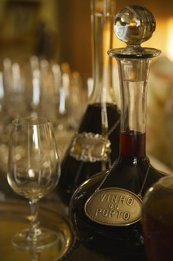 Two Decanters Of Port Wine And Glasses Photograph