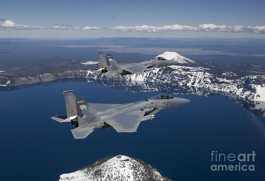 Two F-15 Eagles Fly Over Crater Lake Photograph